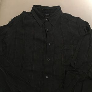 Claiborne button down shirt black with grey stripe